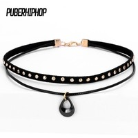 2017 New Ceramic Choker Collar Women Goth Choker Necklace For Women Punk Leather Choker Gothic Jewelry Women Neck Jewelry