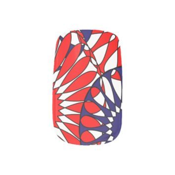Red White and Blue Floral Patterned Minx ® Nail Wraps