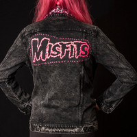CUSTOM Up cycled Urban Outfitters Black Acid Wash Denim Jacket with studs and Pink Cheetah Print collar and Misfits Backpatch -