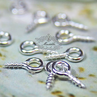 Set of 100 pcs (8mm x 4mm) Small Mini Tiny Silver Finished Round Rings Eyehook Screw Eyes Pins Eyepin - Necklace Earrings Making (JW.ES)