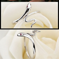 Hot Chic Fashion Silver Plated Lady Ring Finger Opening Adjustable Snake New Jewelry Gift = 1705985092