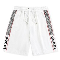 GG new embroidered letters men's casual beach shorts White