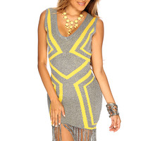 Grey Yellow Fringe Hem Sleeveless Summer Cute Party Dress