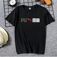 PUMA Summer New Fashion Letter Print Women Men Leisure Top T-Shirt Black
