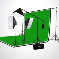 ePhoto H9004SB-69BWG Photography Studio Video Lighting Chromakey Screen 3 Muslin Backdrops Lighting Kit Background Support Kit-Green/Black/White