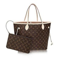 Tagre™ Louis Vuitton Monogram Canvas Beige Neverfull MM M40995 Two piece And Key pouch-Coin purse F