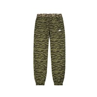 Nike Men's Swoosh Tiger Stripe Camo Olive Black Woven Pants