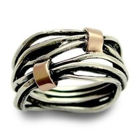 Wedding band  Sterling silver integrated rose gold by artisanlook