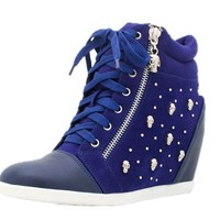 Skull Studded Hi-top Wedge Lace-up Sneaker