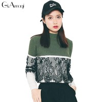 Casual Sexy Women Striped Lace Stitching Long Sleeve Sweater Pullovers Autumn Turtleneck Jumpers Loose Slim Shirts Sweaters Femm