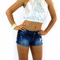 (amn) Embroidered Silver cropped top