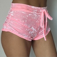Solid Color High Waist Sheath Women's Shorts Soft Velvet Lace Up Sexy Hip Skinny Elastic Short