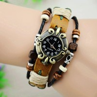 Vintage Style Leather Belt Watch with Wooden Beads