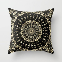 Black Gold Geometric Pillow, Mandala Pillow Cover, Zen Decor, Home and Living