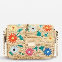 Straw Floral Cross Body Bag - Straw Bags & Hats - Bags & Accessories
