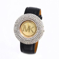 ONETOW MK Fashion Diamonds Leather Watch Masonry Watches Business Watches