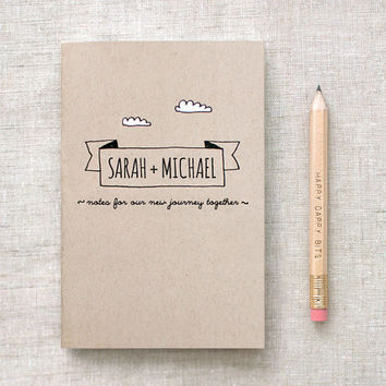 Personalized Mini Journal & Pencil Set for Couples - Notes for our New Journey Together - Wedding Gift
