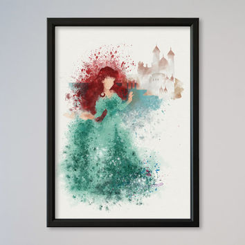 The Little Mermaid Ariel Poster Castle Watercolor Princess Ariel print Disney Poster Kids art Wall art Nursery Art Daughter Gift Girl Gift