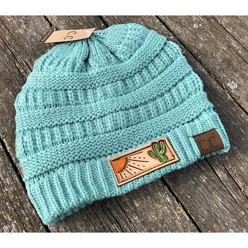 Turquoise Beanie Hat Sun and Cactus Tooled Leather Patch Hat