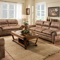 Brown Couch Set | Rochester Hazelnut Sofa and Loveseat