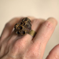 Lichen Ring - Deep brown and Autumn colors.  Funky and fashionable.
