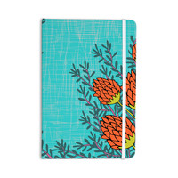 "Nandita Singh ""Red Flowers"" Blue Orange Everything Notebook"