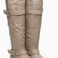 Beige Faux Leather Knee High Zipper Winter Rider Boots
