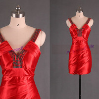 Short red satin homecoming dress with beads,sexy sheathy women gowns for holiday party,2014 cheap chic prom dresses under 100.