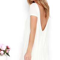Thank You V Much Ivory Backless Swing Dress