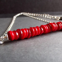 Coral Red Necklace:  Beaded Bar Necklace, Silver Chain Minimalist Necklace, Modern Holiday Berry Christmas Jewelry