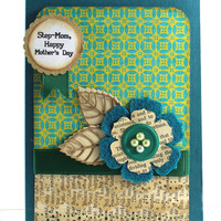 Step Mom - Happy Mother's Day Card, Teal Shabby Chic, Handmade Card