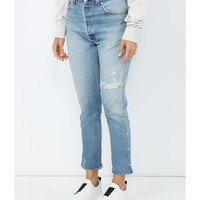 Re/Done Slim Fit Studded Jeans - Blue Cotton Jeans