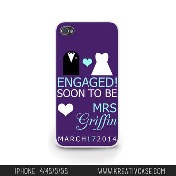 Wedding iPhone Case for iPhone 5, 5S, 5C, Engaged Phone Case, Personalized iPhone Cover, Engagement Gift, Soon To Be - K232