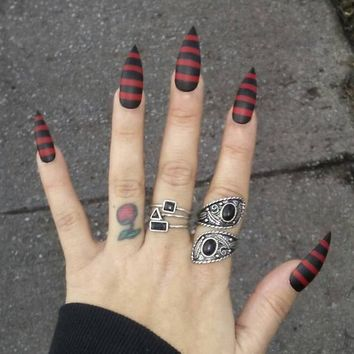 Gothic Black & Red Stiletto Nails, Matte Striped, Press on Claws, Acrylic Glue on Nails, Goth False Nails, Fake Nails, Coffin, Oval, Square