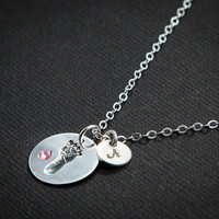 Baby Footprint Necklace, Personalized New Mom Jewelry, Mothers, New Mom Necklace, Baby Boy, Baby Girl, Silver Initial Charm,Baby Shower Gift