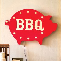 Red Metal BBQ Marquee Sign with Lights