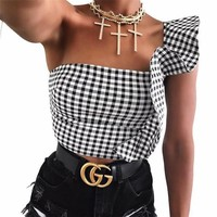 One Shoulder Crop Top Fashion Style Top [200847458319]