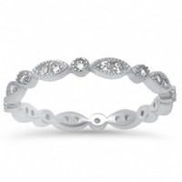 Zara's Antique Inspired Sterling Silver CZ Eternity Ring