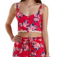 Red Combo Button-Up Floral Print Crop Top by Charlotte Russe