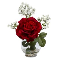 Artificial Flowers -Rose And Gypso With Fluted Vase Flower Arrangement