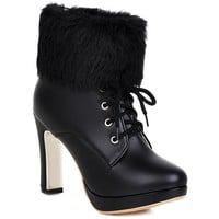 Graceful Women's Short Boots With Faux Fur and Lace-Up Design