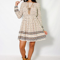 (alz) Southern print long sleeves flare dress