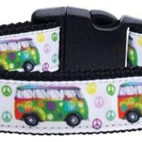 Peace Bus Ribbon Dog Collars Large