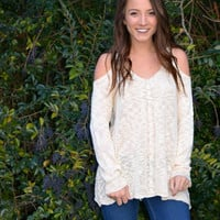 The Gaby Cold Shoulder Sweater ~ Taupe