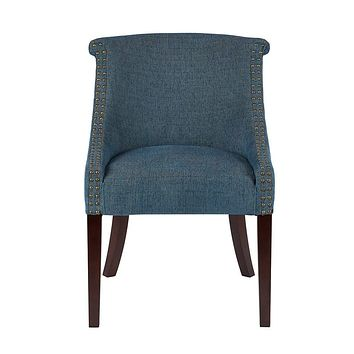 Madison Park Caitlyn Accent Chairs-Hardwood, Plywood, Nailhead Swoop Arm Living Armchair Modern Classic Style Family Room Sofa Furniture, Blue Multi