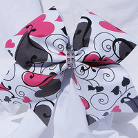 Cheer bow- White with gray and pink hearts bow-cheerbow-cheerleading bow-cheerleader bow bow- dance bow- soft ball bow