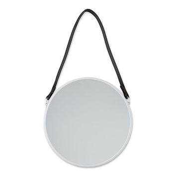 Hanging White Mirror with Faux Leather Strap