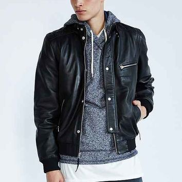 Your Neighbors Quilted Café Leather Jacket- Black