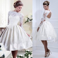 White Women Ladies Lace Pleated Backless Prom Ball Wedding Cocktail Dress