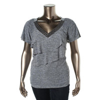 AGB Womens Plus Beaded Tiered Blouse
